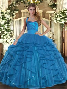 Most Popular Floor Length Lace Up 15th Birthday Dress Teal for Military Ball and Sweet 16 and Quinceanera with Ruffles