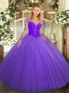 Lavender Ball Gowns Lace Quinceanera Dresses Lace Up Tulle Long Sleeves Floor Length