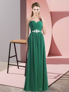Custom Designed Dark Green Sweetheart Lace Up Beading Prom Dress Sleeveless