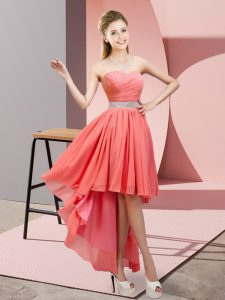 Captivating Beading Homecoming Dress Watermelon Red Lace Up Sleeveless High Low
