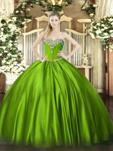 Stylish Sweetheart Sleeveless 15 Quinceanera Dress Floor Length Beading Satin