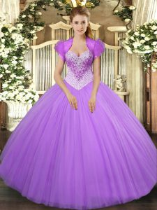 Stylish Floor Length Lavender Quinceanera Gown Tulle Sleeveless Beading