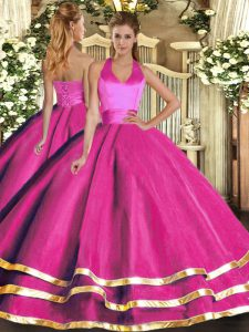 Popular Sleeveless Tulle Floor Length Lace Up Sweet 16 Dress in Fuchsia with Ruffled Layers