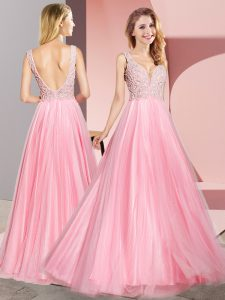 Modest Floor Length Zipper Dress for Prom Watermelon Red for Prom and Party with Lace