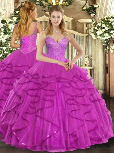 Fuchsia Quinceanera Gowns Military Ball and Sweet 16 and Quinceanera with Beading and Ruffles V-neck Sleeveless Lace Up