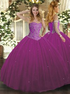 Fashionable Fuchsia Sweetheart Lace Up Beading Quinceanera Gowns Sleeveless