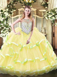 Floor Length Yellow Green and Light Yellow Quince Ball Gowns Scoop Sleeveless Zipper