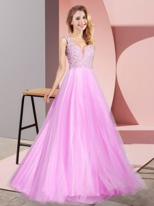 Ideal Lilac Sleeveless Tulle Zipper Prom Dresses for Prom and Party