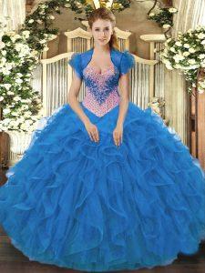 Custom Designed Blue Sleeveless Beading and Ruffles Floor Length Quinceanera Dresses