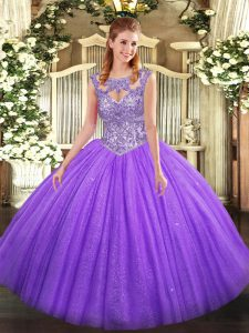 Attractive Lavender Sleeveless Beading Floor Length Quinceanera Dress