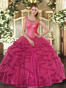 Tulle Scoop Sleeveless Lace Up Beading and Ruffles Vestidos de Quinceanera in Hot Pink