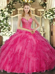 Admirable Floor Length Hot Pink Sweet 16 Dress V-neck Sleeveless Lace Up