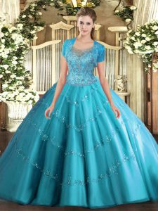 Great Floor Length Ball Gowns Sleeveless Aqua Blue Quince Ball Gowns Clasp Handle