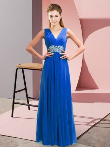 Exquisite Sleeveless Floor Length Beading and Ruching Lace Up Prom Dresses with Blue