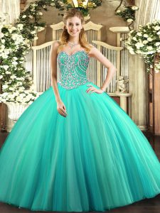 Suitable Tulle Sleeveless Floor Length Sweet 16 Dress and Beading