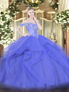 Customized Tulle Sleeveless Floor Length Quinceanera Gown and Beading and Ruffles