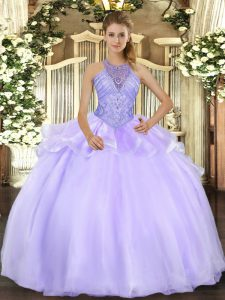 Charming Lavender Organza Lace Up Quinceanera Dress Sleeveless Floor Length Beading