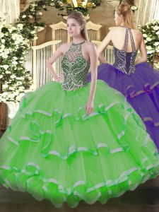 Customized Organza Sleeveless Floor Length 15 Quinceanera Dress and Beading and Ruffles