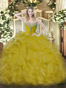 Customized Gold Sleeveless Floor Length Beading Lace Up 15 Quinceanera Dress