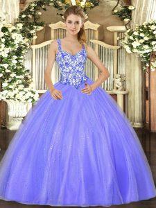 Elegant Lavender Straps Neckline Beading Quinceanera Dresses Sleeveless Lace Up