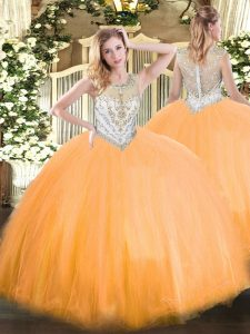 Fantastic Floor Length Zipper Quinceanera Gown Orange Red for Military Ball and Sweet 16 and Quinceanera with Beading