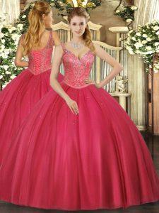 Dramatic V-neck Sleeveless Tulle Sweet 16 Dresses Beading Lace Up