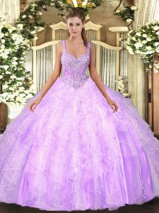 High Quality Lilac Ball Gowns Beading and Ruffles Vestidos de Quinceanera Lace Up Tulle Sleeveless Floor Length