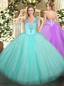 Fantastic Sleeveless Floor Length Beading Lace Up 15th Birthday Dress with Aqua Blue
