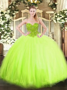 Lovely Organza and Tulle Sleeveless Floor Length Quinceanera Gown and Beading
