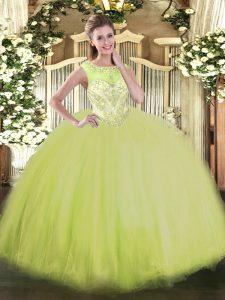 Wonderful Yellow Green Zipper Quinceanera Gowns Beading Sleeveless Floor Length