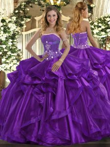 Purple Lace Up Ball Gown Prom Dress Beading and Ruffles Sleeveless Floor Length