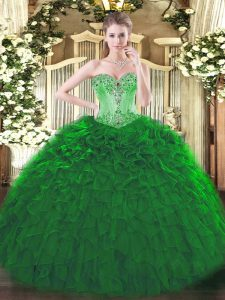 Dark Green Ball Gowns Beading and Ruffles Ball Gown Prom Dress Lace Up Organza Sleeveless Floor Length