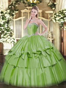 Exceptional Sweetheart Sleeveless Lace Up Ball Gown Prom Dress Yellow Green Organza and Taffeta