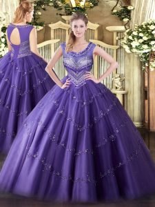 Modern Floor Length Purple Quinceanera Dress Scoop Sleeveless Lace Up