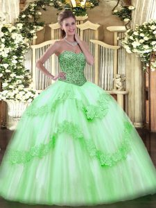 Modest Sleeveless Beading and Appliques and Ruffles Floor Length Vestidos de Quinceanera