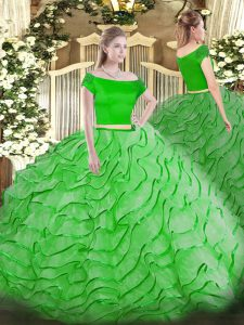 High End Brush Train Two Pieces Ball Gown Prom Dress Off The Shoulder Tulle Short Sleeves Zipper