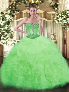 Custom Made Sleeveless Floor Length Beading and Ruffles and Pick Ups Lace Up Quinceanera Gown