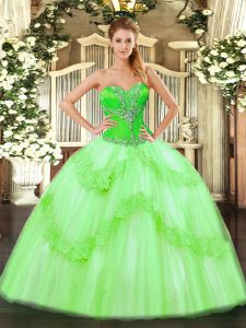 New Arrival Lace Up Sweetheart Beading and Ruffles 15th Birthday Dress Tulle Sleeveless