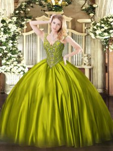 Olive Green Sleeveless Satin Lace Up Quinceanera Gowns for Military Ball and Sweet 16 and Quinceanera
