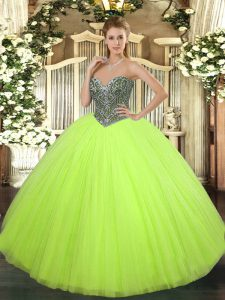 Beauteous Yellow Green Sweetheart Neckline Beading Quinceanera Gowns Sleeveless Lace Up
