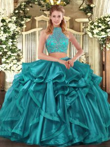Turquoise Organza Criss Cross 15 Quinceanera Dress Sleeveless Asymmetrical Beading and Ruffled Layers
