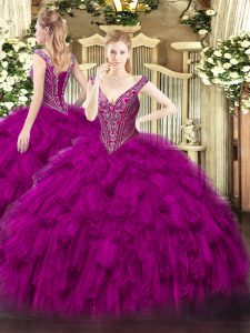 Attractive Fuchsia Quinceanera Dresses Military Ball and Sweet 16 and Quinceanera with Beading and Ruffles V-neck Sleeve