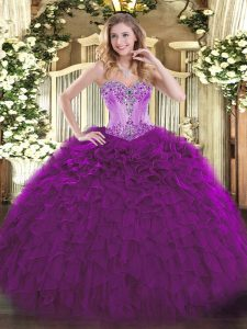 Eggplant Purple Sweetheart Neckline Beading and Ruffles 15 Quinceanera Dress Sleeveless Lace Up