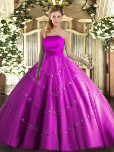 Classical Tulle Strapless Sleeveless Lace Up Appliques Sweet 16 Dresses in Fuchsia