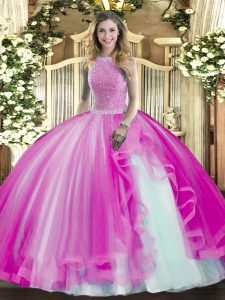 Fuchsia High-neck Neckline Beading and Ruffles Quinceanera Gowns Sleeveless Lace Up