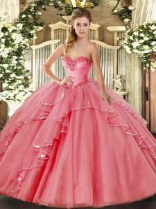Tulle Sweetheart Sleeveless Lace Up Beading and Ruffled Layers Quinceanera Gown in Watermelon Red