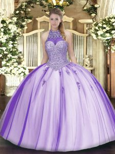 Sleeveless Floor Length Beading and Appliques Lace Up Ball Gown Prom Dress with Lavender