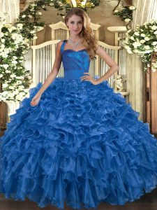 Blue Sleeveless Organza Lace Up Quinceanera Dress for Military Ball and Sweet 16 and Quinceanera