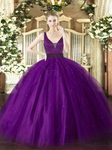 Sophisticated Beading 15 Quinceanera Dress Purple Zipper Sleeveless Floor Length