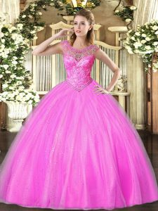 Popular Lilac Scoop Lace Up Beading Sweet 16 Quinceanera Dress Sleeveless